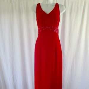 Donna Morgan Red Evening Sheath Long Dress Sz 6